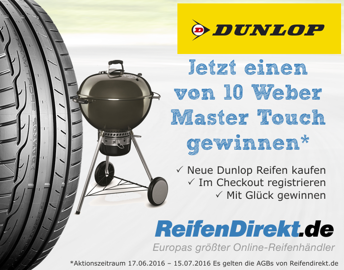 dunlop weber master tough grill gewinnspiel reifen online g nstig kaufen. Black Bedroom Furniture Sets. Home Design Ideas